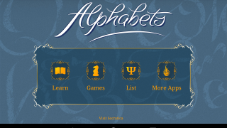 Alphabets is a quiz and study tool for several different world alphabets.