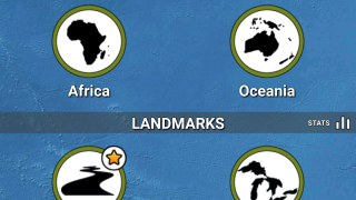Users can choose to study or face challenges on a range of geography trivia, from national capitals to landmasses.