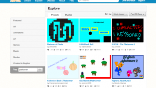 Searching for example games and code by genre on the Scratch site.
