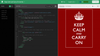 Template projects let students edit code on the left side of the page and see the results on the right.