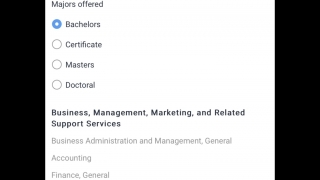 Search schools by majors offered.