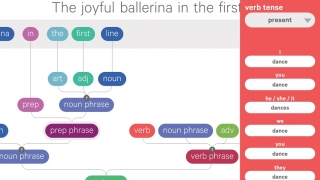 In the sentence builder, kids can create their own sentences from a robust database of words.
