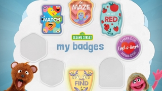 Kids collect badges as they complete games and activities.