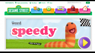 The homepage shows what the site offers and the features a playlist of assembled videos and games designed to expand kids' vocabulary.