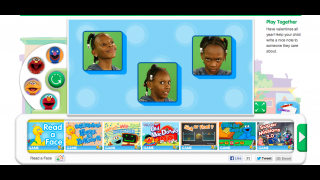 An emotions game has kids click on the face showing a particular emotion (in this case, scared).