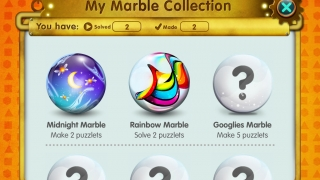 Kids can earn marbles for completing and creating puzzles.