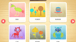 Kids can tap to browse screens and find puzzles they want to complete.