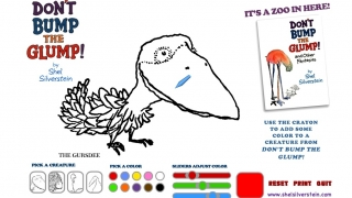 A coloring activity lets kids color in one of Shel's magical characters and then print their creation.