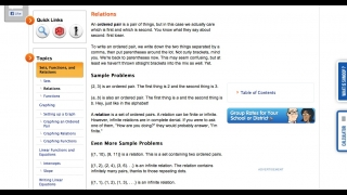 The site's math sections include detailed how-to advice, examples, and well-organized navigation.