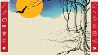 Use the simple drawing tools to create full-color sketches.