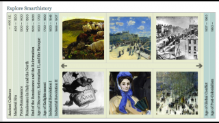 Articles and videos are presented in a timeline that promotes free exploration of the site's resources.