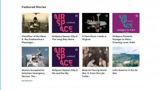 Featured stories include podcast episodes and compelling content.