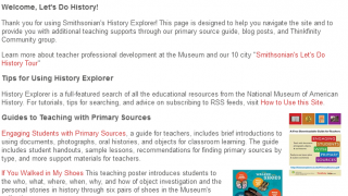 Teacher Resources offers guidance on ways to use the site in the classroom.