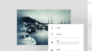 Images can be shared, opened in other apps, saved, or exported.