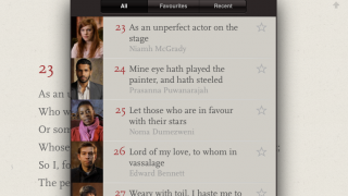 Sonnets are read by various performers, authors, and scholars.