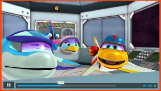 Episodes feature some adoreable spaceship cartoon characters.