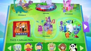 Kids see an inviting open book with various themed icons and characters.