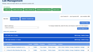Manage your lists and student-created lists in the dashboard, and assign lists to groups.