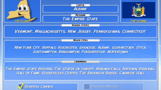 Each state has a flash card that contains the information asked in the trivia questions.
