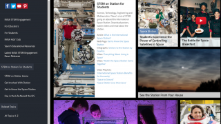 The student page has Q&A sessions with astronauts and tips for viewing the ISS at home.