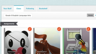 Kids can browse published stories and review teacher-created assignments.