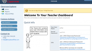 Manage students from and find lesson plans in the teacher dashboard.