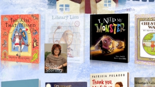 On the landing page, kids see story titles and the actors who read them.