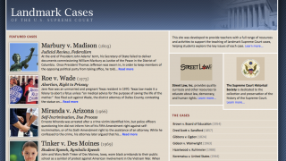 The standalone Landmark Cases site has excellent info about important SCOTUS cases.
