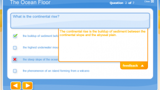 Kids can review their correct and incorrect responses to quiz questions, complete with feedback about the correct response.