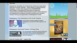 The education section includes lesson plans developed by PBS and other nonprofits.