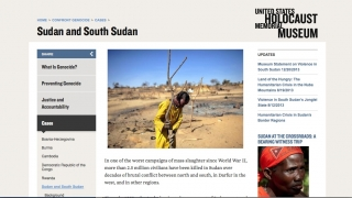 The site includes case studies on current world events, like the genocide in Sudan