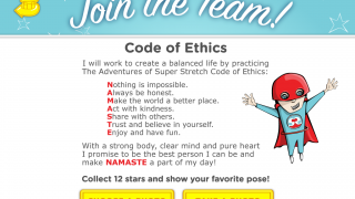 After watching 12 videos, kids can read the NAMASTE code of ethics and take a picture of themselves doing a favorite pose.