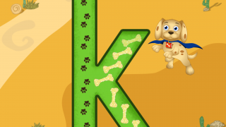 Follow the dog bones to practice writing letters.