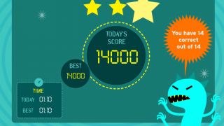 After completing a level, kids see their scores and times with a comparison of the best time.