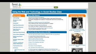 Another homepage link leads to a site centered on social studies topics.