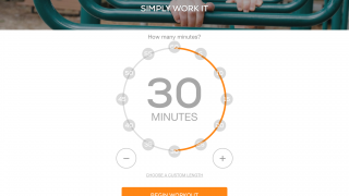 Choose your workout duration from five to 60 minutes, or set a custom length.