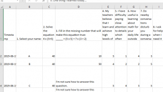 Student responses to activities can be downloaded as Excel files.