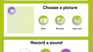 Upload a picture or take one with the camera, give it a title, and record accompanying audio.