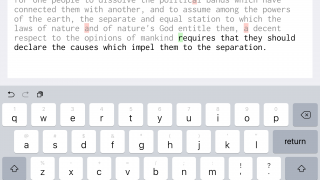 Later lessons include typing quotations from U.S. history documents. Red boxes show where you've made typing mistakes.