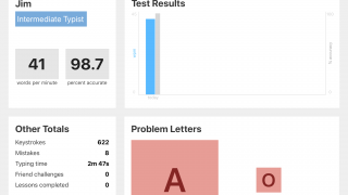 You can see your virtual or your physical keyboard typing statistics at any time.