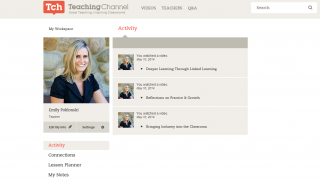 The My Workspace section lets teachers track their activity and bookmark useful resources.