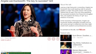 Homepage includes links to related talks and comments on the TED website.