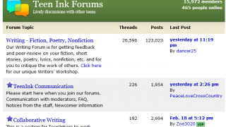 Sample Forums available at Teen Ink.