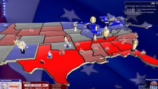 Blue and red states: The brighter the color, the heavier the influence.