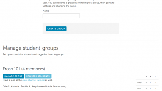To get started, teachers register each of their classes as a group.