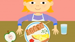 Kids can explore different meals and learn about the foods on each plate.