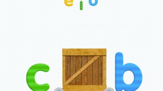 In the no-toy version, vowels appear at the top of the screen, and kids tap one to insert in the word.