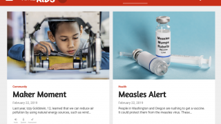 The Time for Kids home page features current stories for each age group.
