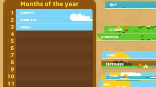 Puzzles reinforce the order of days of the week, months of the year, and calendar layout.