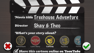 It's a wrap! Students title their Toontastic video, add director credits, and choose a genre on the clever clapperboard.